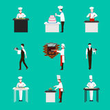 Cooking with chef figures vector icons set. Dinner in restaurant,  cake and kitchen illustration Royalty Free Stock Photography