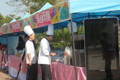 Cooking chefs on site Royalty Free Stock Image