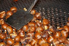 Cooking chestnuts, background Royalty Free Stock Photos