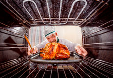 Cooking chicken in the oven. Royalty Free Stock Photo