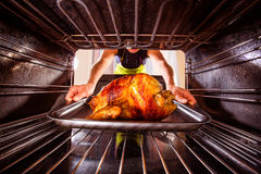 Cooking chicken in the oven at home. Royalty Free Stock Photo