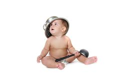 Cooking child baby over white Stock Photo