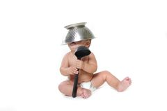 Cooking child baby over white Royalty Free Stock Image