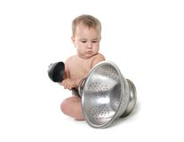 Cooking child baby over white Royalty Free Stock Photography