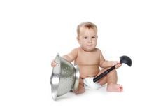 Cooking child baby over white Stock Image