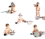 Cooking child collection. Cooking child over white collection Royalty Free Stock Images