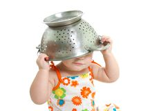Cooking child over white Royalty Free Stock Photo