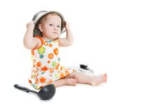 Cooking child over white. Background Royalty Free Stock Image