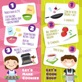 Cooking With Children Banners stock illustration