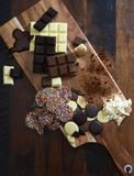 Cooking with Chocolate Concept with Raw Ingredients Stock Photos