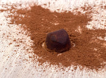 Cooking chocolate truffles stock images