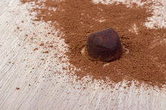 Cooking chocolate truffles royalty free stock photography