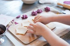 Cooking class, culinary. Food and people concept, molding of pelmeni or meat colorful dumplings, set of funny original colorful. Pelmeni Stock Photography