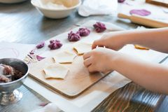 Cooking class, culinary. food and people concept/ molding of pelmeni or meat dumplings, child hands in process.  Royalty Free Stock Images