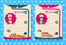 Cooking class diploma. Young girl and boy cook kid with apron, kitchen class vector certificate templates royalty free illustration
