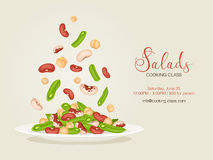 Cooking class flyer. Cooking class flayer template. Fresh salad from beans, french beans and chickpea. Side view. Healthy food vector illustration with text Stock Image