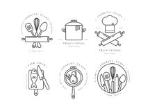 Cooking Class Linear Design Elements, Kitchen Emblems, Symbols, Icons Or Food Studio Labels And Badges Collection. Royalty Free Stock Photo