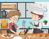 A Cooking Class with Professinal Chef. Illustration royalty free illustration