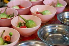 Cooking class: Thai, pea eggplants, red chilies in bowls Royalty Free Stock Photos