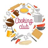 Cooking club chef kitchenware icons vector poster. Cooking club or chef school classes design of kitchenware and kitchen utensils icons. Vector cutlery of fork vector illustration