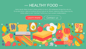 Cooking collection, healthy food infographics template design, web header elements, poster banner. Food Vector. Illustration Royalty Free Stock Photography