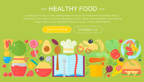 Cooking collection, healthy food infographics template design, web header elements, poster banner. Food Vector. Illustration Royalty Free Stock Photos