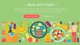 Cooking collection, healthy food infographics template design, web header elements, poster banner. Food Vector. Illustration Stock Image