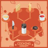 Cooking color isometric concept icons. Vector illustration, EPS 10 Stock Photos