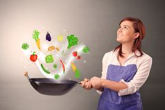 Cook with colourful drawn vegetables. Cooking with colourful drawn vegetables on grunge background stock photography