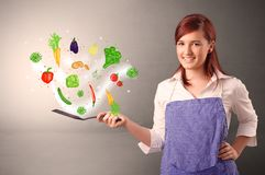 Cook with colourful drawn vegetables. Cooking with colourful drawn vegetables on grunge background stock image