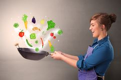 Cook with colourful drawn vegetables. Cooking with colourful drawn vegetables on grunge background stock photos