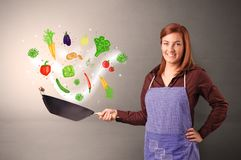 Cook with colourful drawn vegetables. Cooking with colourful drawn vegetables on grunge backgroundn royalty free stock photo