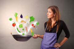 Cook with colourful drawn vegetables. Cooking with colourful drawn vegetables on grunge backgroundn stock photos