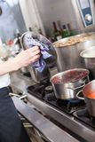 Cooking in a commercial kitchen Royalty Free Stock Image