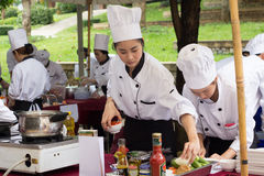 Cooking Competition School of Business Management students (Junior iron chef) Royalty Free Stock Images
