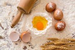 Cooking concept. Basic baking ingredients Stock Photos