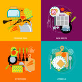 Cooking concept 4 flat icons square Stock Photography