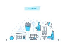 Cooking concept. Food and drinks. Employees of restaurant, chef, cook. Royalty Free Stock Photos