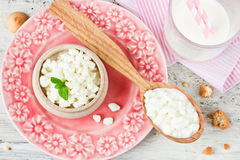 Cooking concept of healthy breakfast: cottage cheese, milk, home Royalty Free Stock Photography