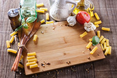 Cooking concept. Ingredients for cooking pasta Stock Photo