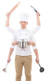 Cooking concept - man in chef uniform with 6 hands holding kitchen equipment Royalty Free Stock Photos