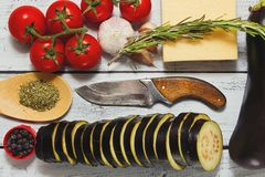 Ready for cooking eggplants with tomatoes. Cooking concept of mediterranean cuisine - raw ingredients on the kitchen table - sliced eggplant, tomatoes on branch Royalty Free Stock Images