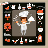 Cooking  concept -Smiling Chef Showing Ok Sign and Serving Food. Cooking and Food concept -Smiling Chef Showing Ok Sign and Serving Food Royalty Free Stock Photos