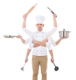 Cooking concept -young man in chef uniform with 8 hands holding Stock Image