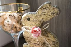 Easter bunny, sugar roses and sugar quail eggs Stock Photo