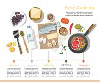 Infographic, Different dishes and food. Top view. vector illustration