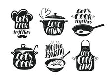 Cooking, cookery, cuisine label set. Cook, chef, kitchen utensils icon or logo. Handwritten lettering, calligraphy. Cooking, cookery, cuisine label set. Cook royalty free illustration