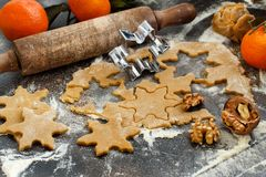 Cooking cookies with  cookie cutters and mandarins. Cooking cookies with  cookie cutters and  mandarins Stock Image