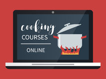 Cooking course online. Cooking courses online. Culinary class vector illustration Stock Image