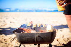 Cooking crayfish on the beach Royalty Free Stock Photo